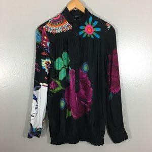 Desigual Floral Button Up Blouse in Black Faces M